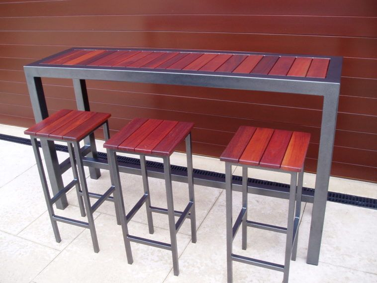 Furniture Long Narrow High Top Metal Wood Combo Outdoor Bar Table And 3 Stools Great Designs