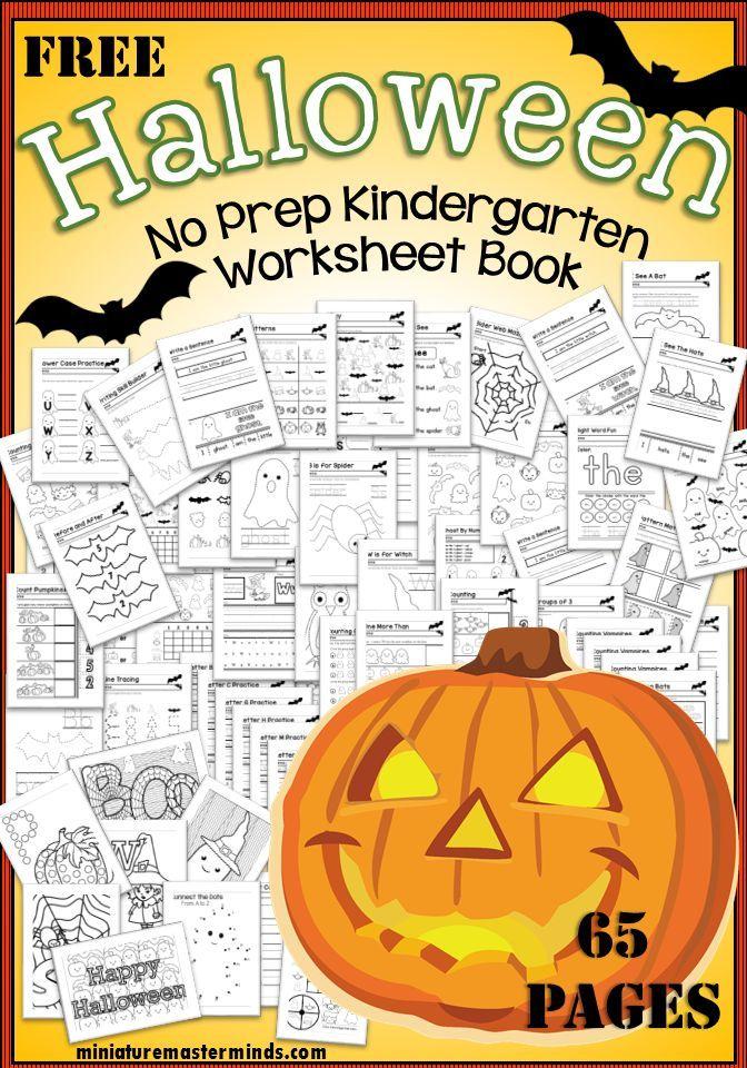 Halloween No Prep Kindergarten 65 Page Worksheet Book | Pinterest