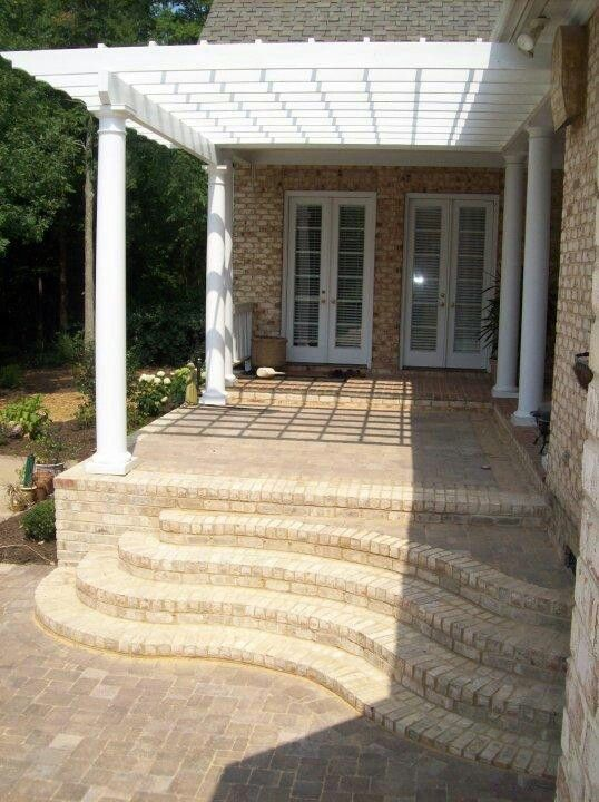 Best Curved Brick Steps Leading To Upper Patio With Pergola 640 x 480