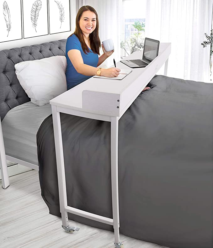 Amazonsmile Joy Overbed Table With Wheels Height Adjustable Rolling Bed Desk For Full Queen Beds Mobile Multi F In 2020 Overbed Table Bed Table On Wheels Bed Desk