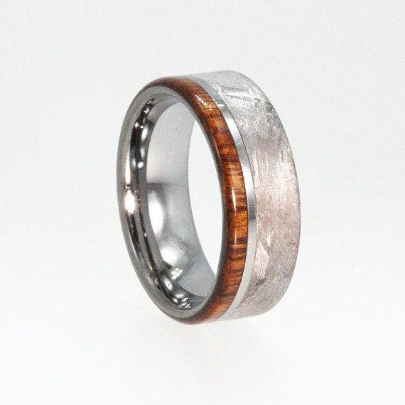 Handmade Meteorite Ring Mens Tungsten Wedding Rings With Ironwood Wood Inlay Wp