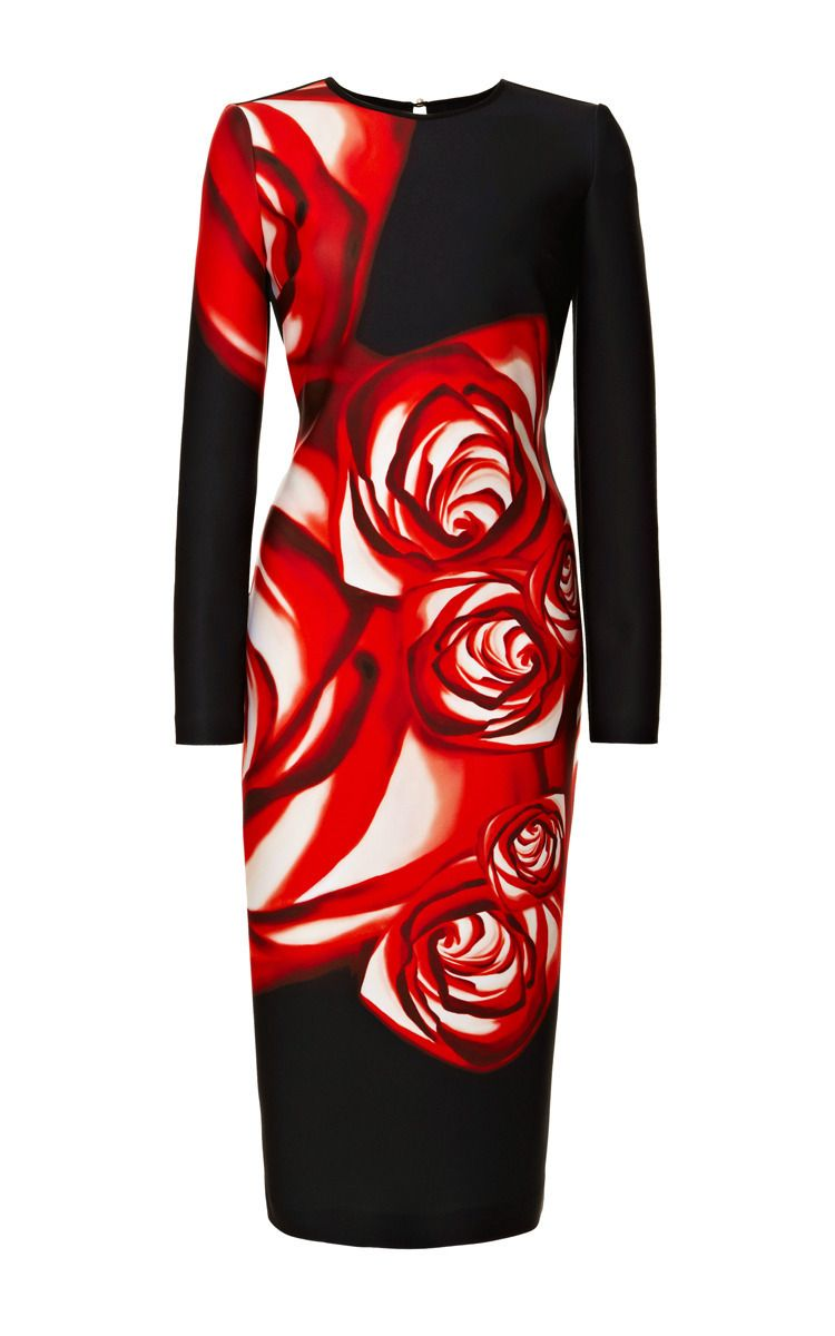 Spanish rose printed neoprene dress by clover canyon now available