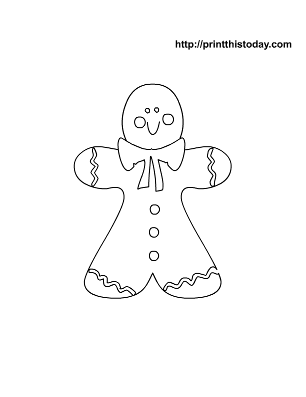 Cute Gingerbread Man Coloring Page For Christmas