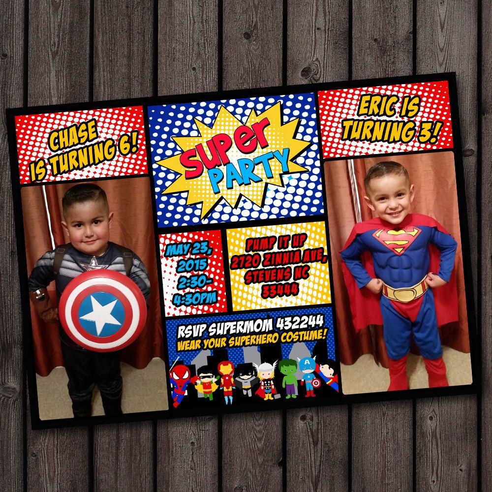 Superhero Invitation Custom Picture Birthday Customized Wording Double
