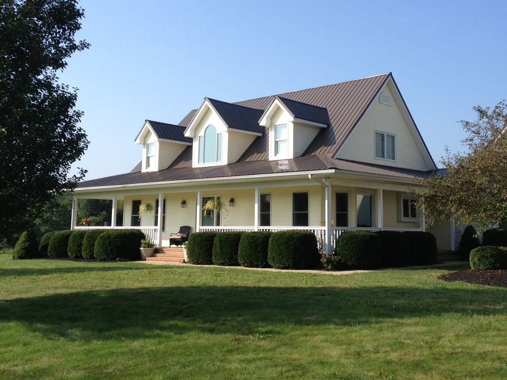 Farmhouse Exterior Colors With Metal Roof Burnished Slate Color Metal Roof Metal Roof Colors In