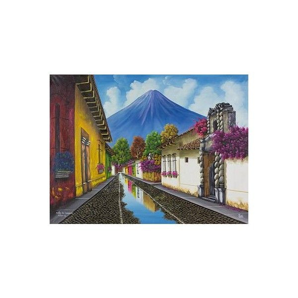 NOVICA Antigua Guatemala Signed Oil on Canvas Painting ($297) ❤ liked on Polyvore featuring home, home decor, wall art, backgrounds, paintings, realist paintings, inspirational canvas wall art, novica paintings, novica home decor and canvas wall art