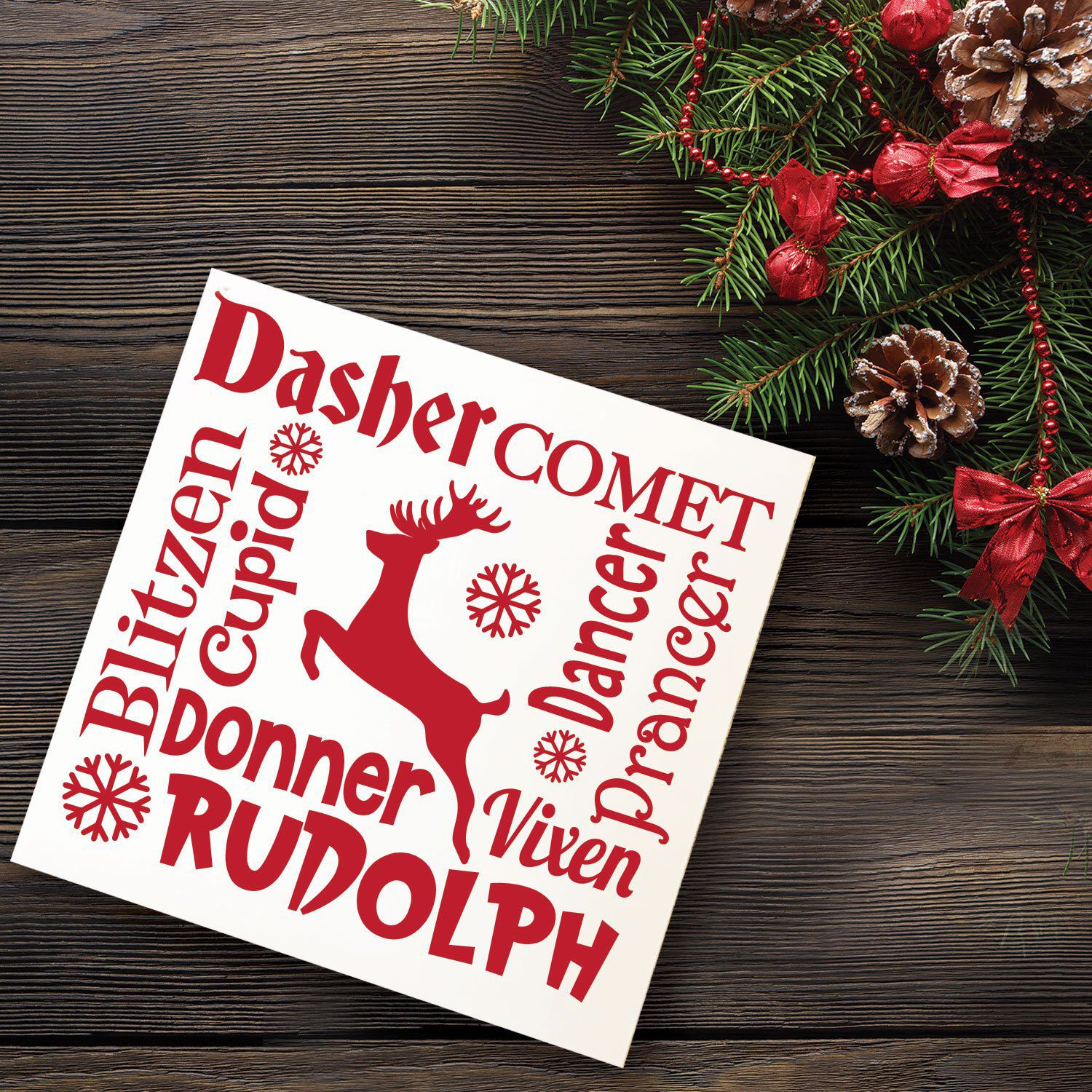 Christmas Reindeer Names Wooden Sign The Eight Reindeer And