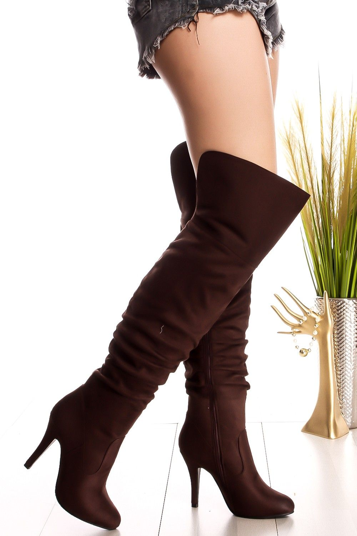af568b103594 Brown side zipper suede over the knee high heel boots  brownboots   overtheknee  highheelboots