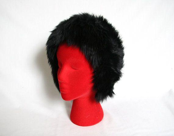 Vintage Lambs Fur Hat Shearling Hat Black by GhostClubVintage