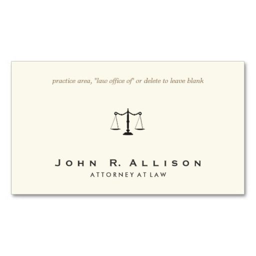 Simple and Sophisticated Attorney Ivory Business Card Business - blank business card template