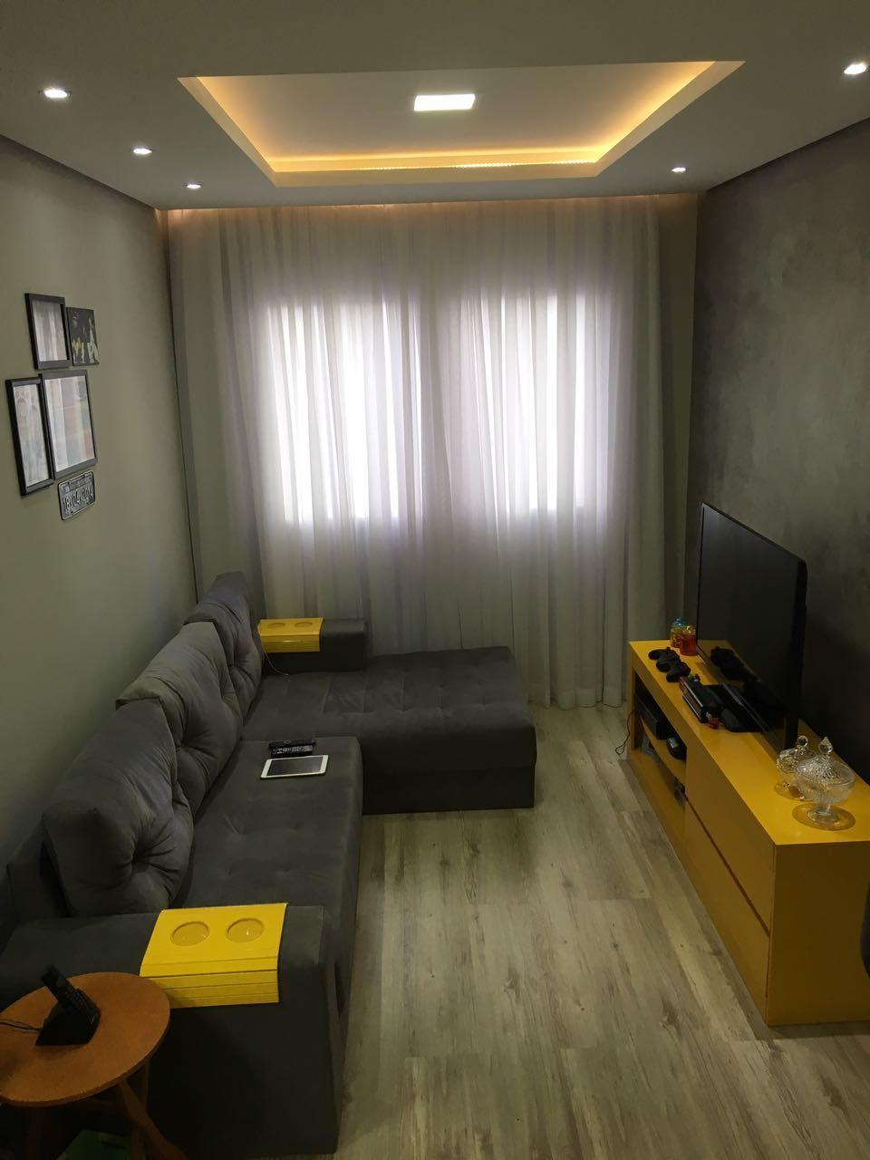 Sala de estar com piso laminado parede do home com for Sala de estar segundo piso