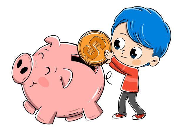 Boy Saving Money In Piggy Bank Kids Saving Money Money Clipart Saving Money Piggy Bank
