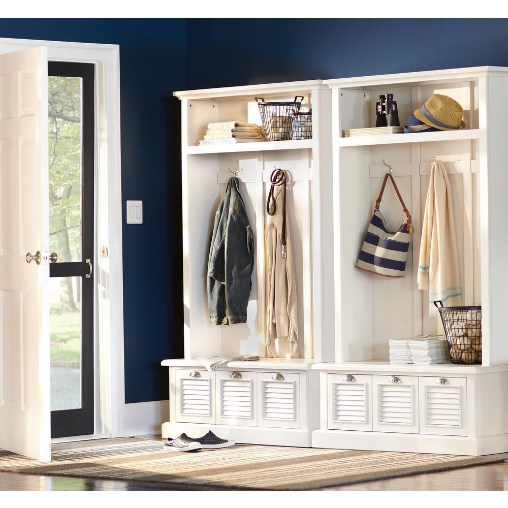 Home Decorators Collection Shutter 74 In H X 42 W Locker Storage Polar White 1157310410 The Depot