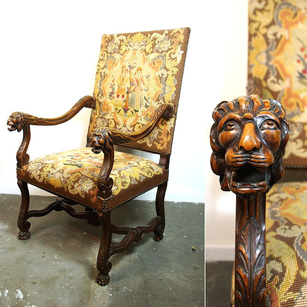 Antique Carved Lion Head Needlepoint Throne / Carved Mahogany Large Scale  Arm Chair / Gothic Medieval - RESERVED Antique Carved Lion Head Needlepoint Throne / Carved
