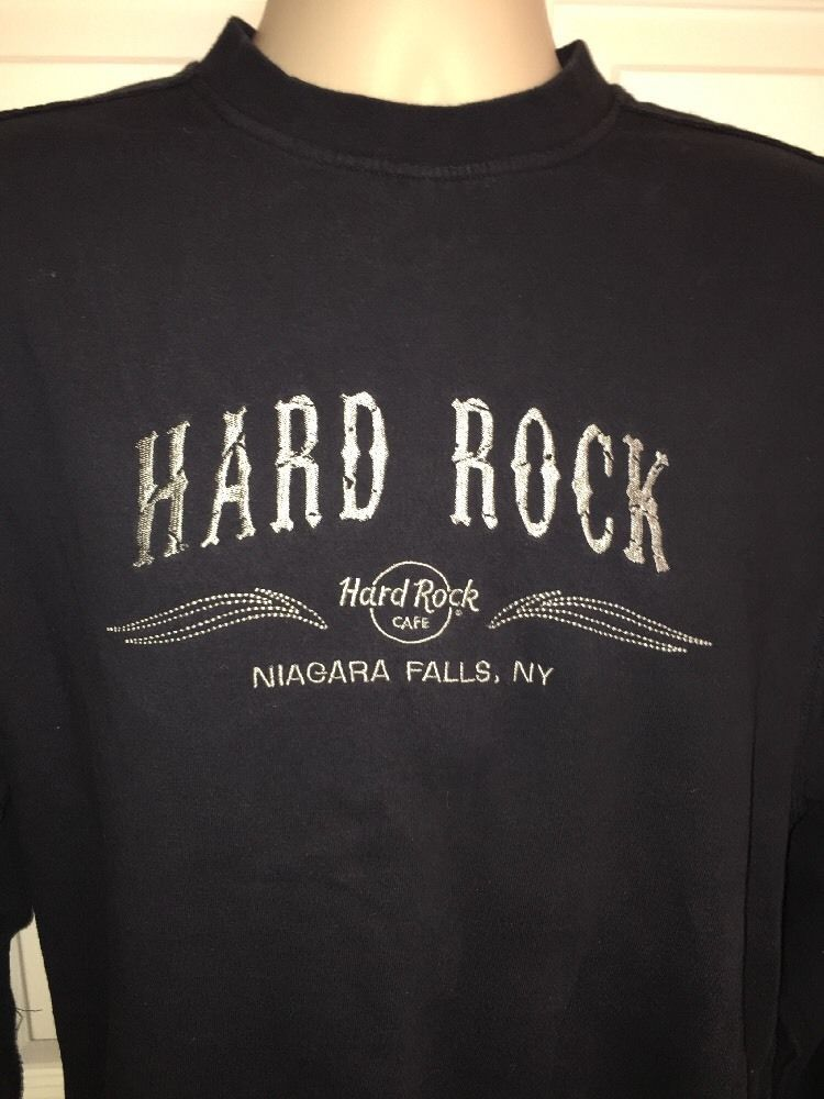 Hard Rock Cafe Niagara Falls NY Pullover Sweatshirt Small s Navy Blue | eBay