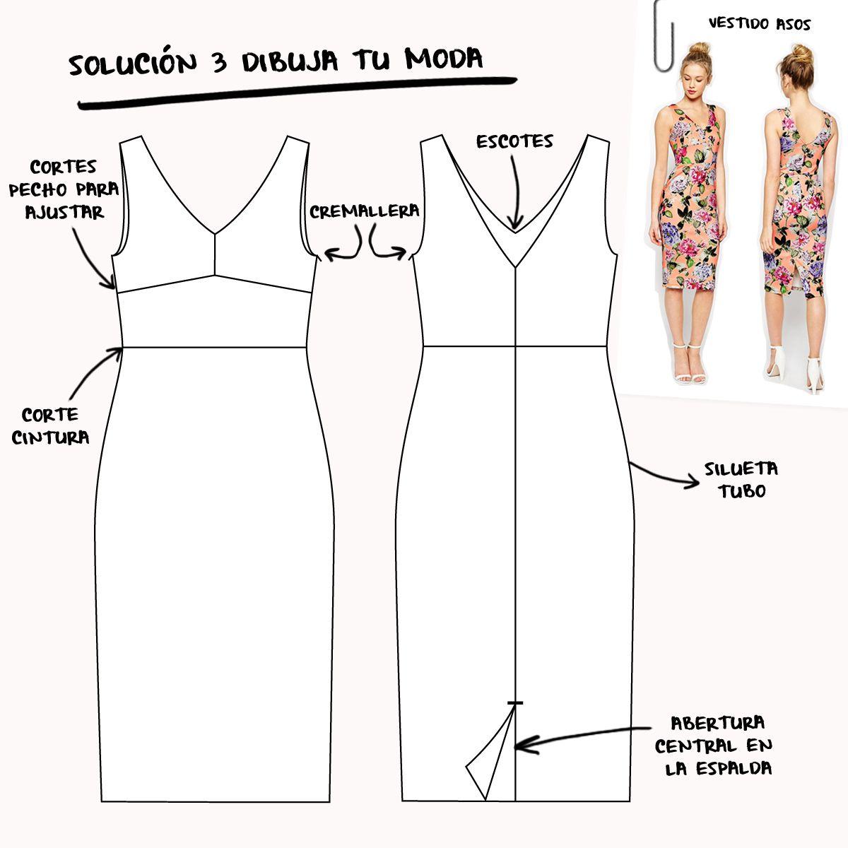 Dibujo plano de vestido silueta tubo | Betsy Costura | dibujo de ...