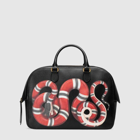 67c428c96e99 Gucci Snake print leather duffle | Accesorize | Gucci snake bag ...