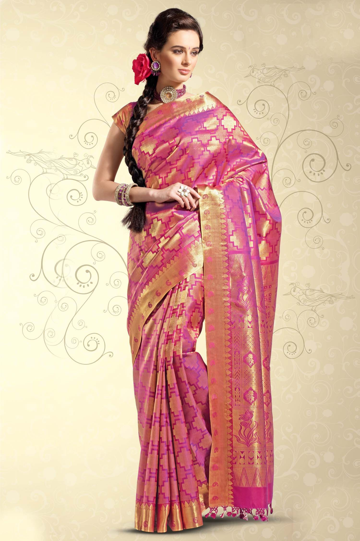 Pink saree with zari | saree | Pinterest