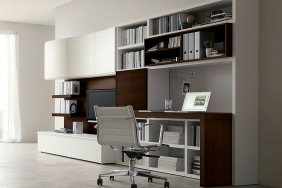 Moderne wohnwand mit viel stauraum interiores parete for Scrivania soggiorno