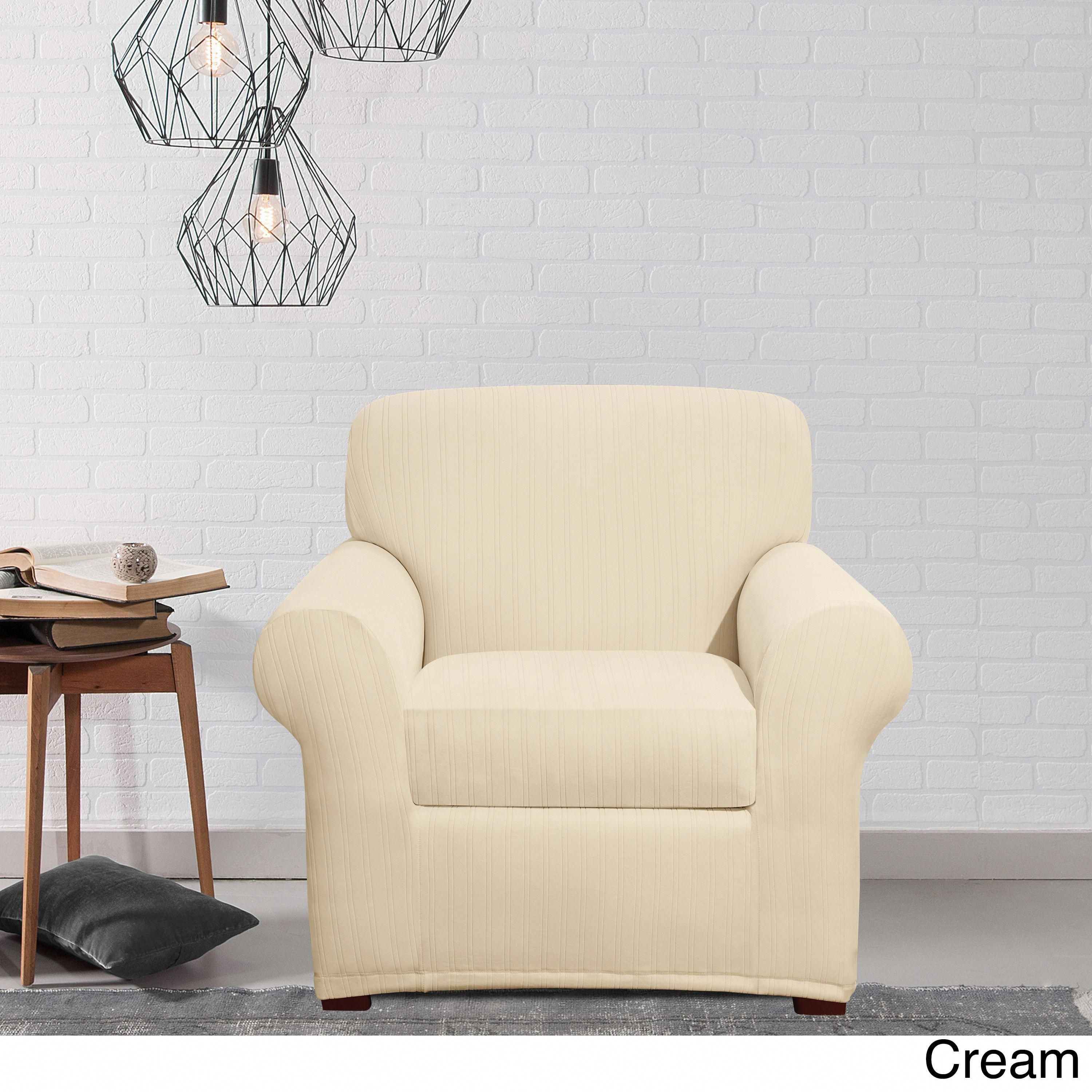 Sure fit stretch pinstripe two piece t cushion chair slipcover cream tan
