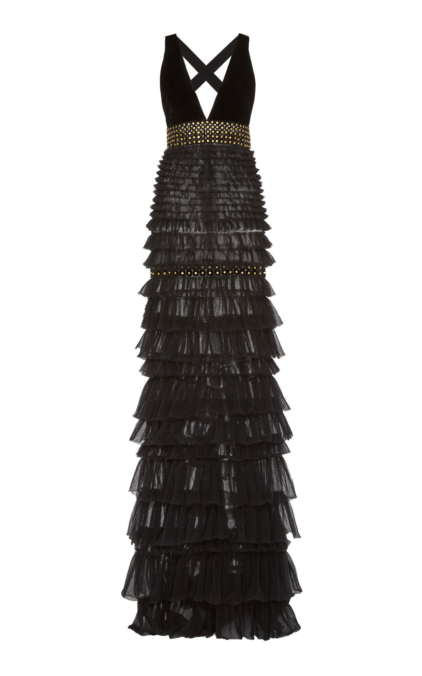 68a9d4e1ce9 Embroidered Tiered Tulle V-Neck Gown by J. MENDEL for Preorder on Moda  Operandi