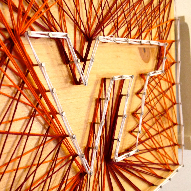 Virginia Tech Hokies String on Wood Wall Hanging | Virginia tech ...