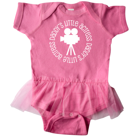Daddy's little actress Infant Tutu Bodysuit has movie camera silhouette logo for a girl who provides a little drama or who loves acting. $29.99 www.personalizedfamilytshirts.com