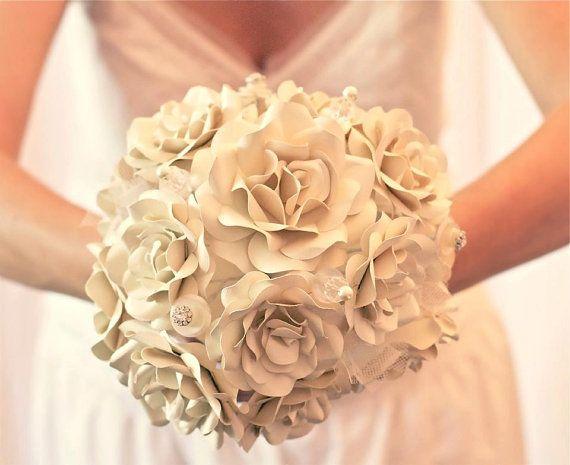 Custom Paper Flower Wedding Bouquet via Etsy