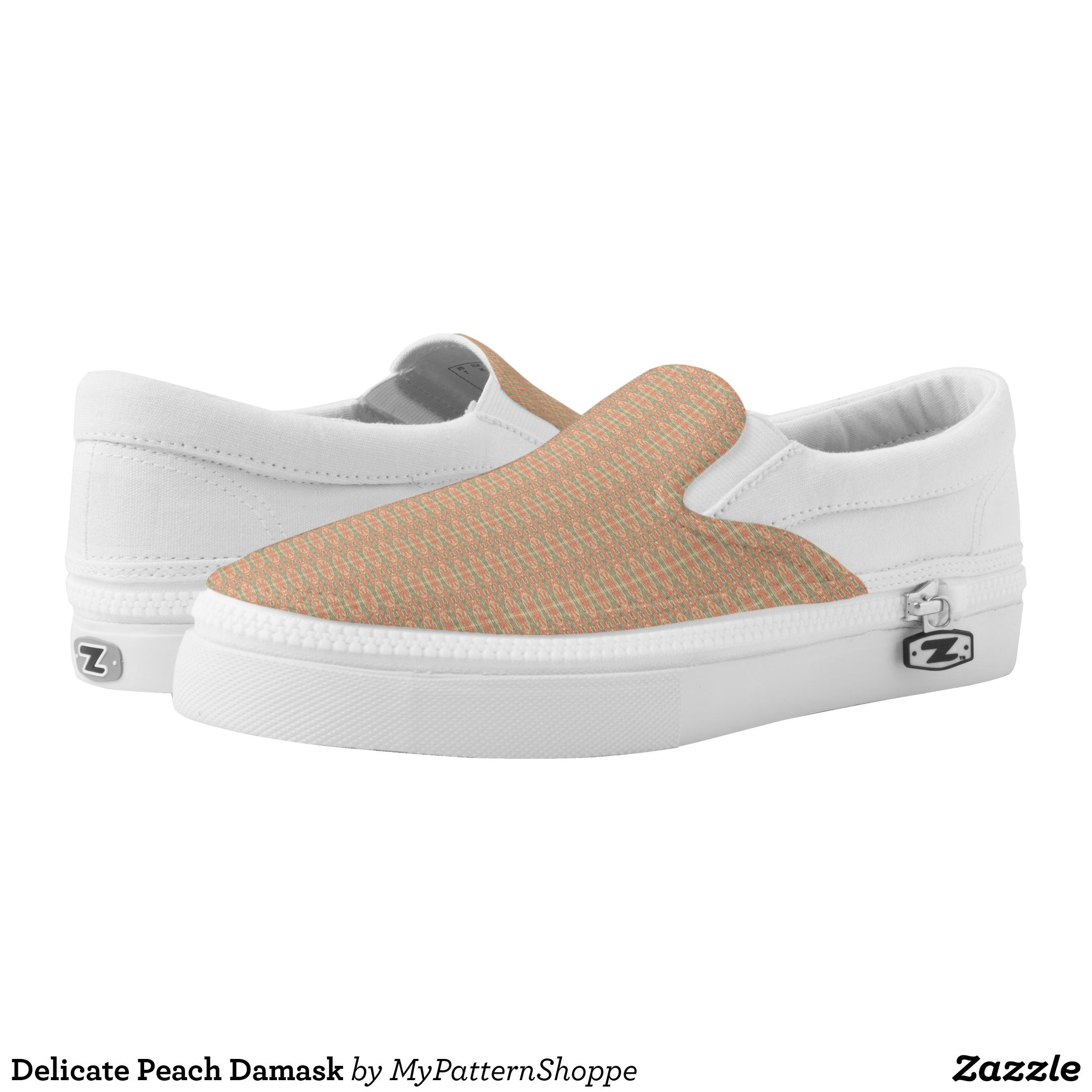 73aeaba9816b Delicate Peach Damask Slip-On Sneakers - Canvas-Top Rubber-Sole Athletic  Shoes By Talented Fashion And Graphic Designers -  shoes  sneakers   footwear ...