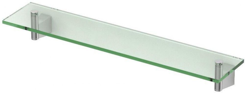 Glass Bathroom Shelf Chrome Minimalistic Design Wall Mount Organizer