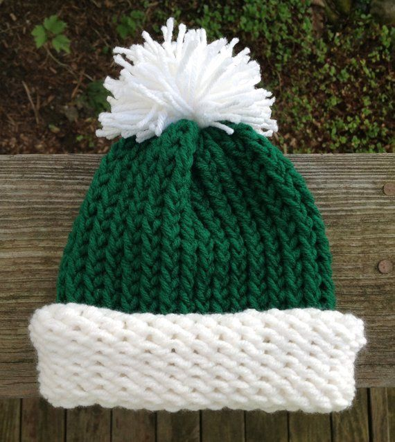 Elf Hat Christmas Holiday Green And White Preemie Baby Infant Toddler Child's Teen Adult Knitted Winter Christmas Hat