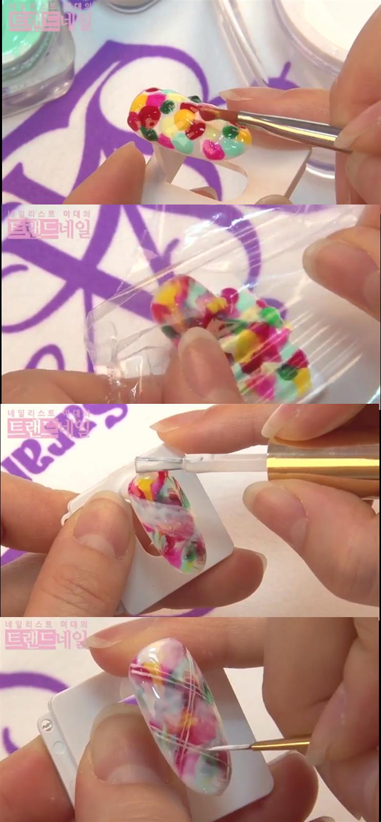 Sara Youtube Nail Art Class, Marbling Nail Art, White Plaid Check ...