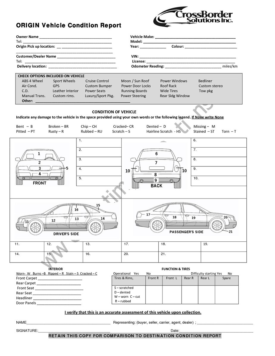 12+ Vehicle Condition Report Templates - Word Excel ...