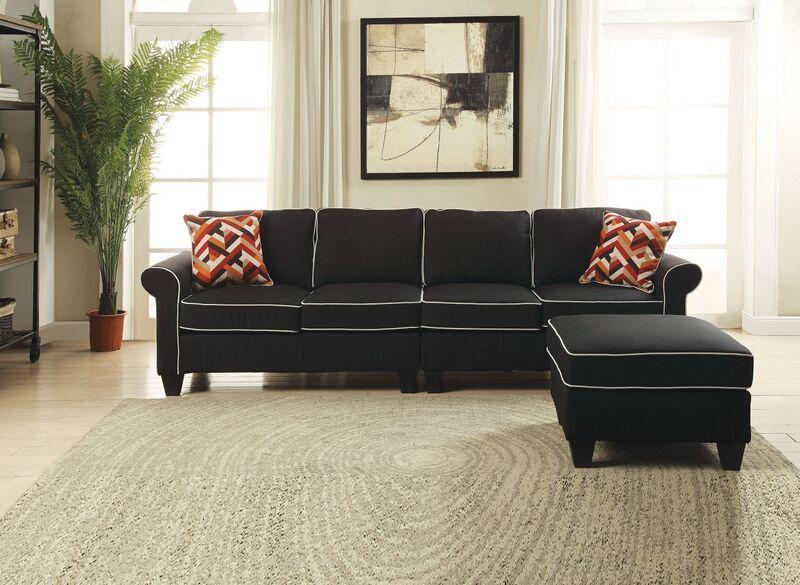 Acme 54240 44 2 Pc Kelliava Black Fabric Modular Sectional Sofa With Ottoman Modular Sectional Sofa Sectional Sofa With Chaise Sectional Sofa