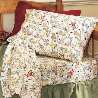 strong>Plow & Hearth</strong> Cat Yarn Flannel Sheet Set | bedding ... : plow and hearth quilts - Adamdwight.com