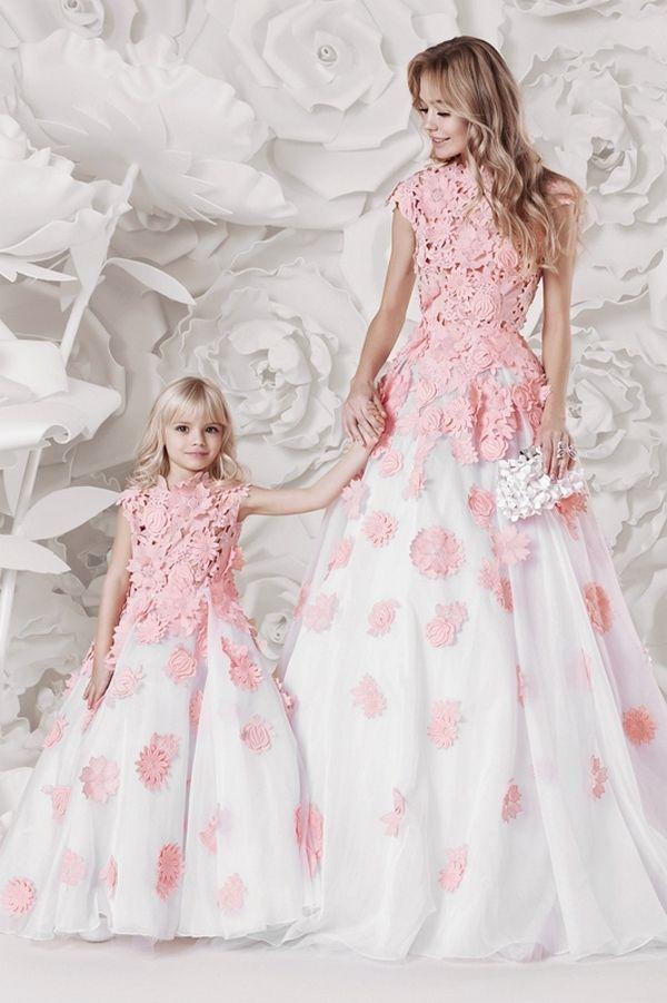 3c75d6af0 28 Matching Flower Girl Dresses To Bridal Gowns | Pink Weddings | Prom  dresses, Flower girl dresses, Mother daughter fashion
