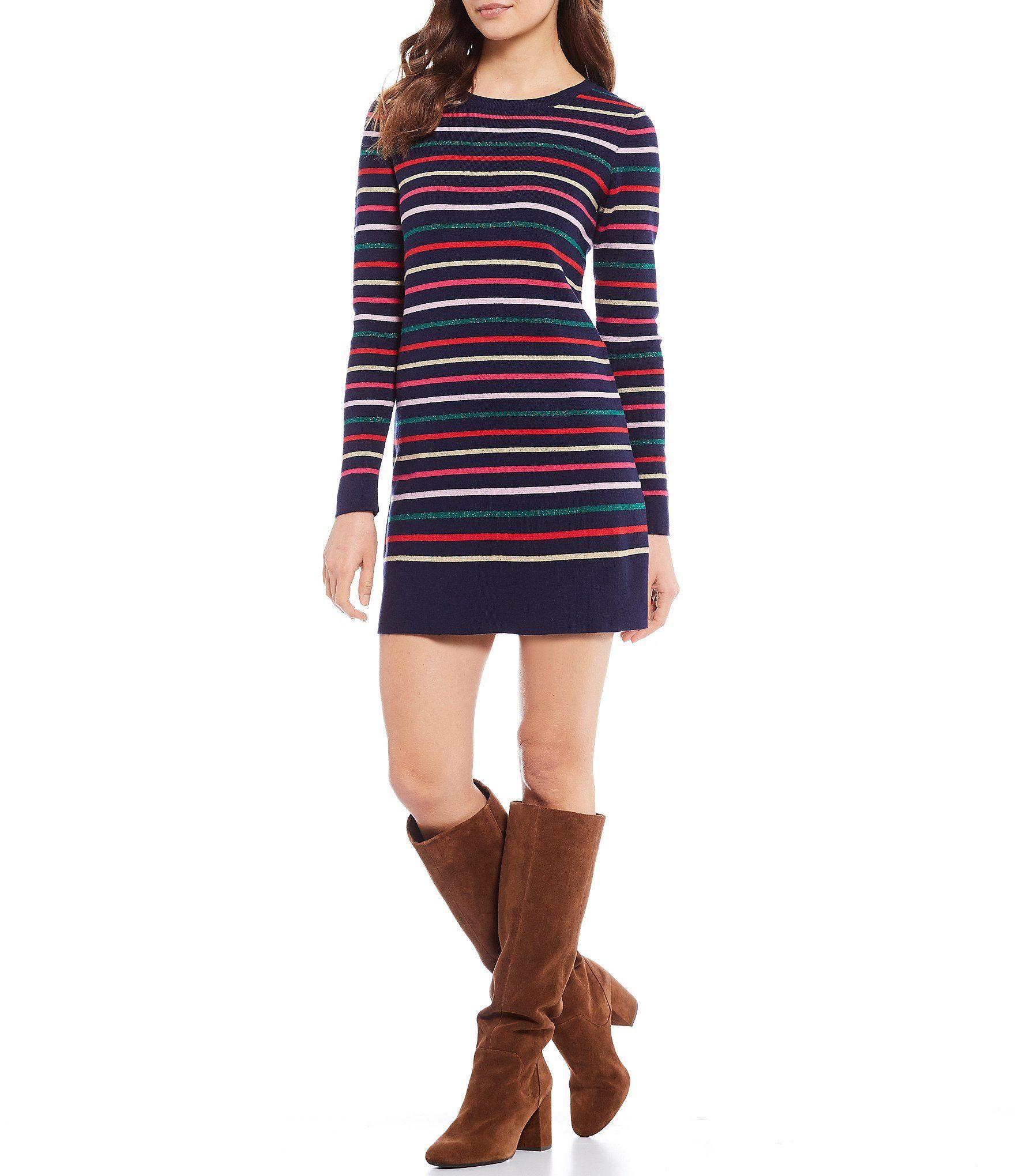 Joules Estelle Long Sleeve Cotton Striped Tie Back Knit Mini Sweater Dress | Dillard's 5