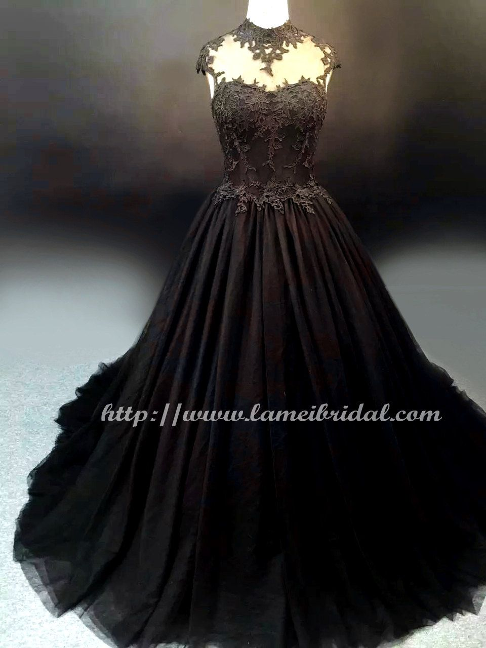 Gothic Style Black High Neck Wedding Bridal Dress Ball Gown Black Lace Ballgown