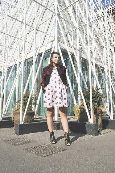 Get this look: http://lb.nu/look/8436311  More looks by Tina Gallo: http://lb.nu/user/370345-Tina-G  Items in this look:  Quattromani Spider Dress, Dolce & Gabbana Embrodered Jacket, Zara Lace Up   #chic #elegant #street
