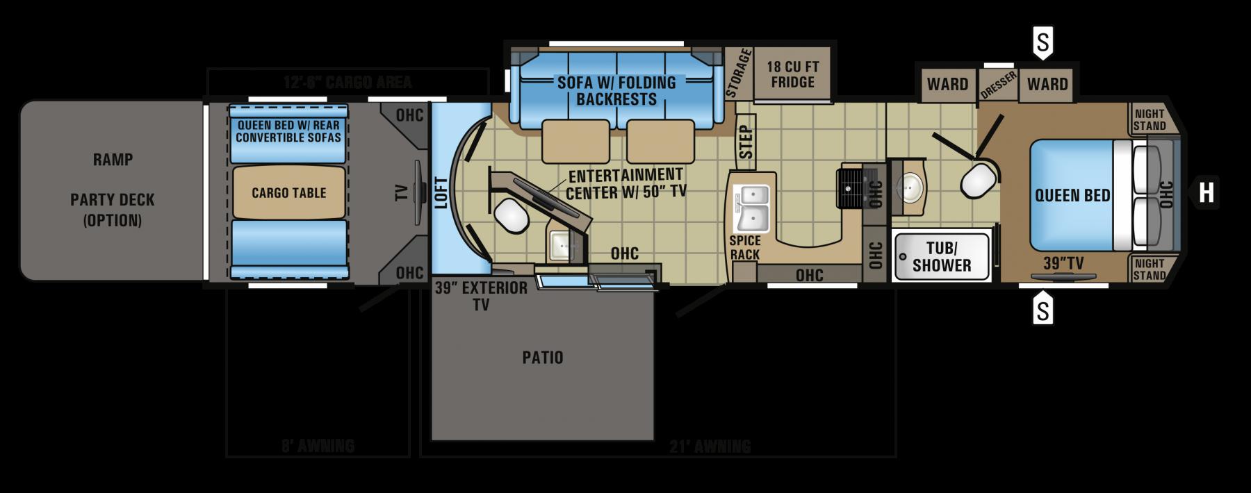 2017 Seismic 4113 Floorplan Toy hauler, Deck party, Jayco