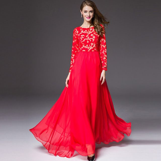 b2940b1f2 Red Stylish Long Maxi Frock for Party Wear