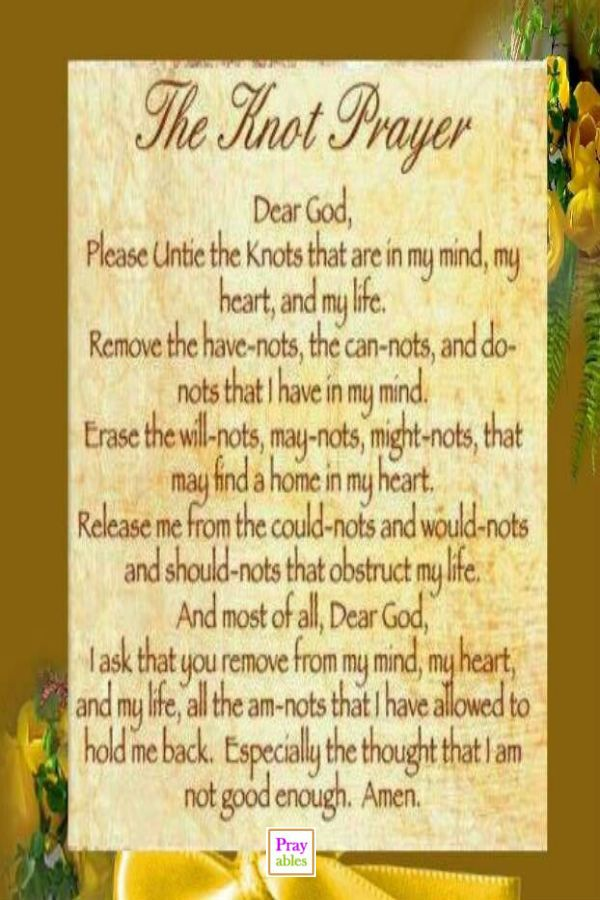 This is a photo of Witty The Knots Prayer Printable