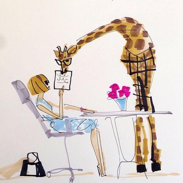 """Aos fãs de Donald Robertson (@drawbertson) uma excelente notícia. O diretor criativo que virou hit no Instagram com suas ilustrações fashionistas lança seu primeiro livro na próxima segunda-feira. Intitulada """"Mitford at the Fashion Zoo"""" a publicação é protagonizada por sua personagem mais famosa a girafa Mitford que estreou como estagiária de Anna Wintour da @voguemagazine (na ilustração acima). Mais detalhes em vogue.com.br. #moda #mitford by voguebrasil"""