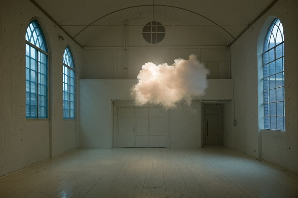 Rainman: Berndnaut Smildeas creates clouds using a smoke machine, combined with indoor moisture and dramatic lighting to create an indoor cloud effect. This print is called Nimbus II, 2012 cloud in room