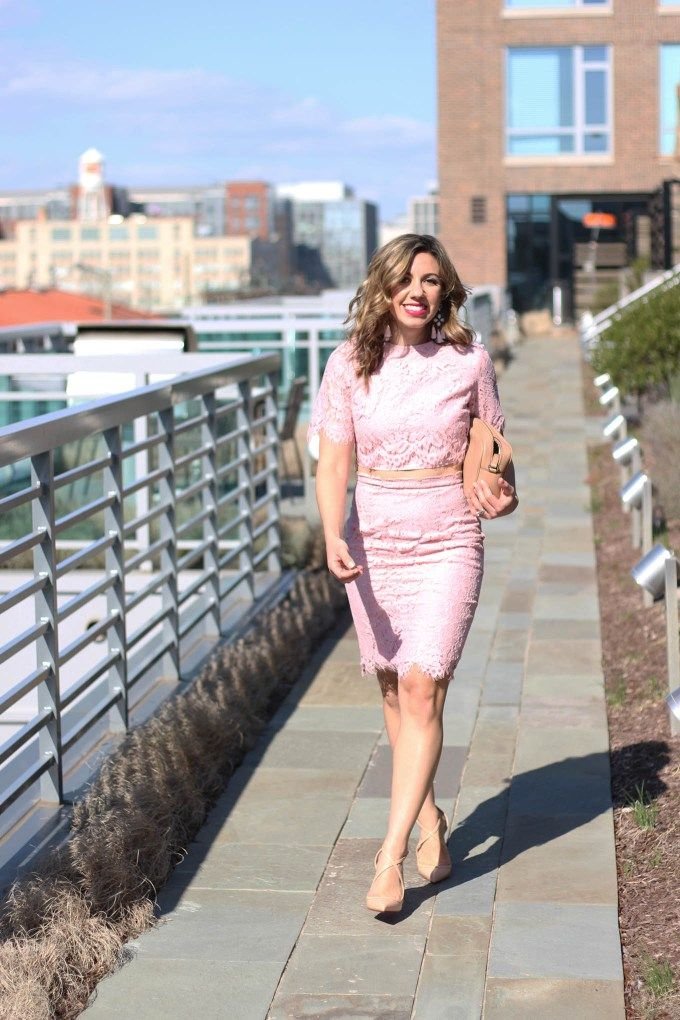 678a128c9f8 Lifestyle Blogger Roxanne Birnbaum of Glass of Glam in a Fancy Pink Lace  Shein Dress