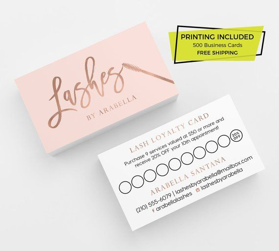 Rose Gold Pink Lash Loyalty Card Design 500 Printed Business Cards