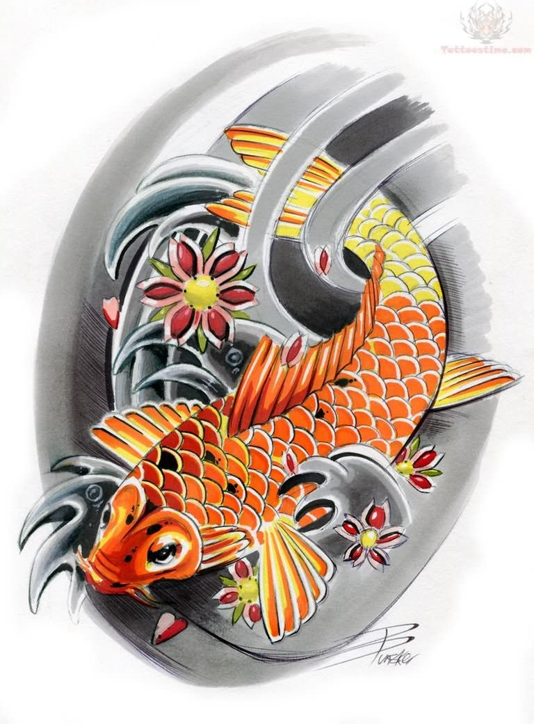 42 Mind Blowing Koi Tattoo Designs Examples: 30 Koi Tattoo Design And Displacement Ideas