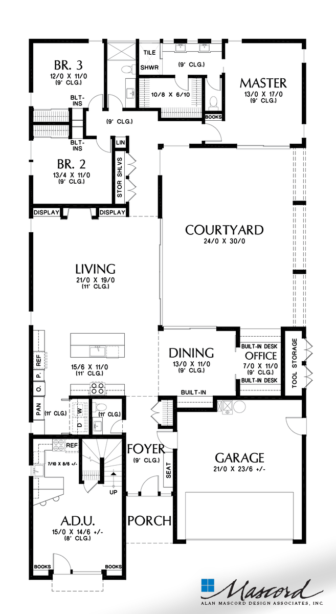 Mascord House Plan 1260 The Alameda North Main Floor Plan Courtyard House Plans Contemporary House Plans Beach House Floor Plans