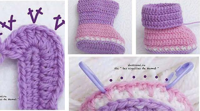 Cómo tejer botitas de bebé - Paso a Paso | Botas De Bebé | Pinterest ...