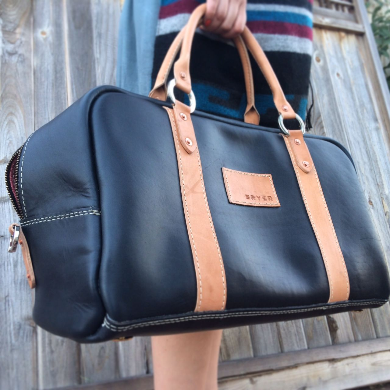 3e3c8cb5812 Perfect weekender bag in a black and tan color!   Bryer Leather ...